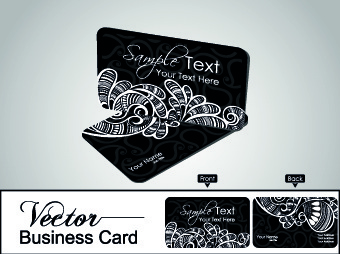 color floral business cards vector