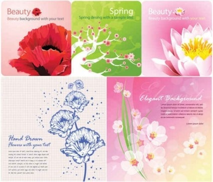 color flowers background graphics vector set