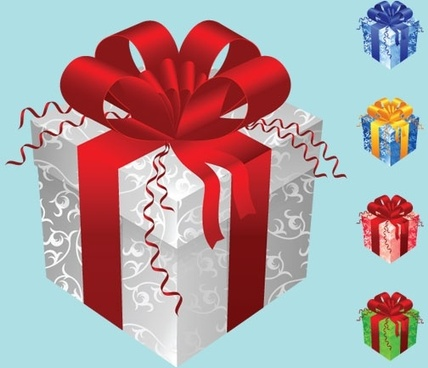 color gift packaging vector