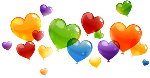 color heart balloons vector