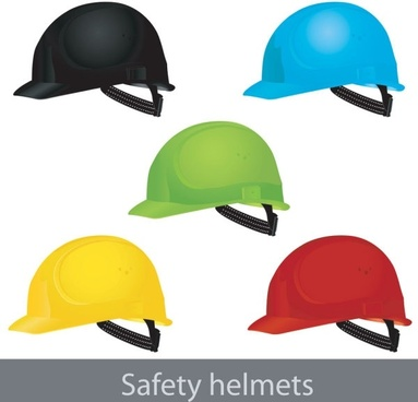 safety helmet icons collection realistic colorful design
