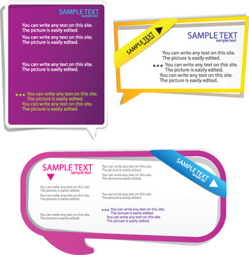 color hollow speech bubbles for text design vector