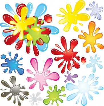 color ink droplets background vector