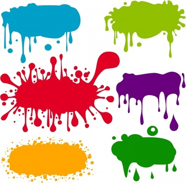 grunge ink marks icons multicolored flat splashing decor
