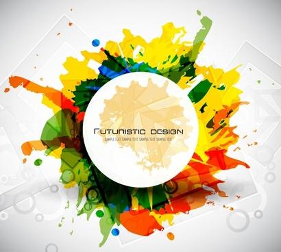 decorative background dynamic colorful ink splashing