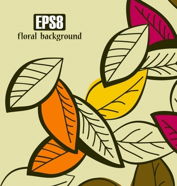leaves background colorful closeup design classic handdrawn