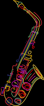color lines musical instruments vector