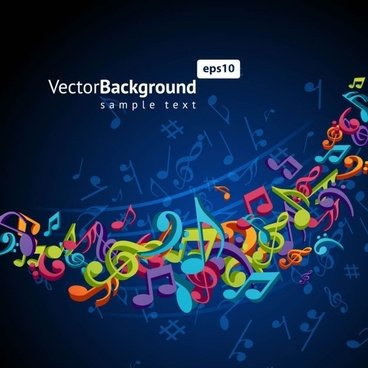 color music key symbols 02 vector