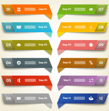 color number banners vector