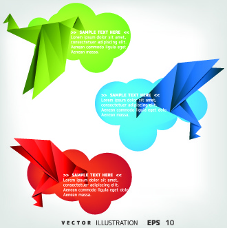color origami birds background illustration