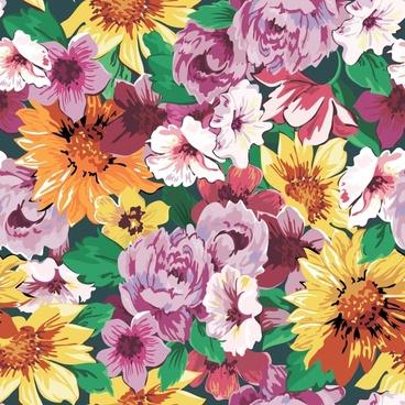 flowers painting elegant colorful vintage handdrawn design
