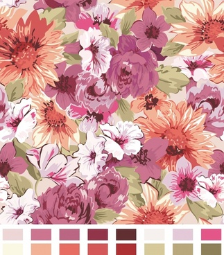 color pattern painting flower vector background