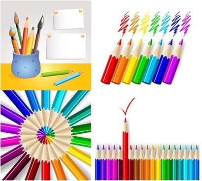 color pencils icons design various realistic styles