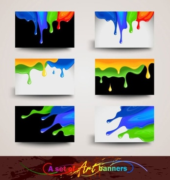 color splash cards 02 vector