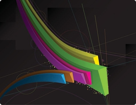 color threedimensional dynamic lines of the vector