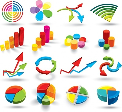 business icons collection colorful 3d charts design