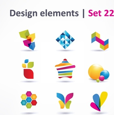 web icons elements colorful modern 3d flat shapes