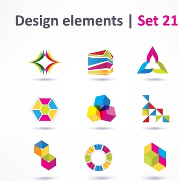 color threedimensional logo vector