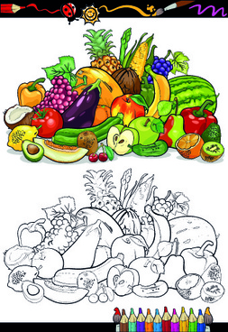 color with sketch fruit and vegetables vector