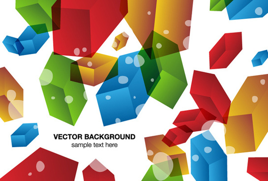 colored 3d geometric shapes background