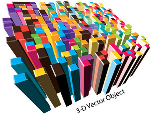 colored 3d objects background vector