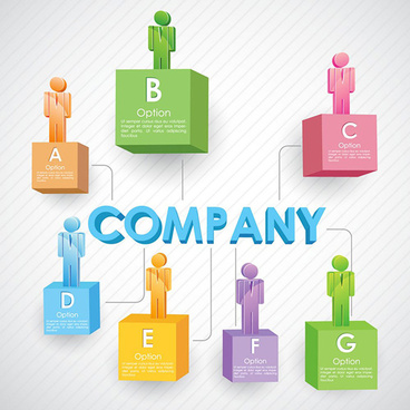 colored 3d people company template vector