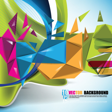 colored 3d shapes vector background