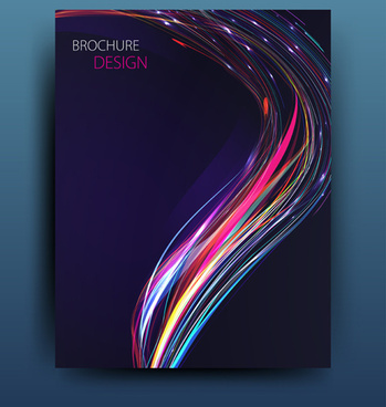 colored abstract brochure cover template vector