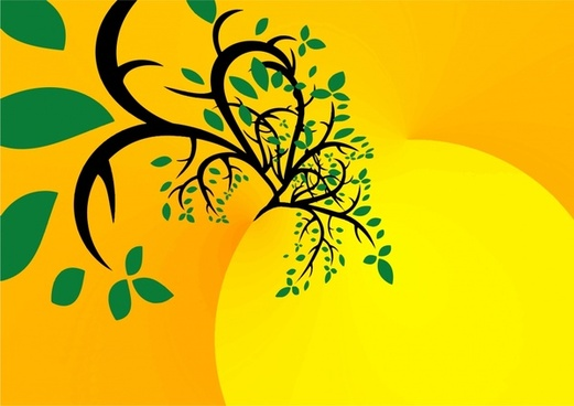 colored abstract tree on sun painting