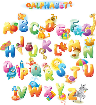 colored alphabet with children literacy vector