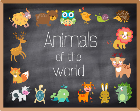 colored animals icons illustration on chalkboard