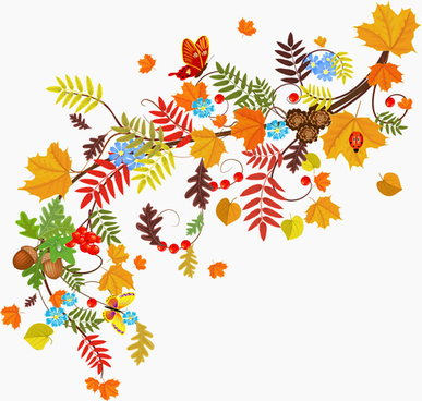 colored autumn leaves with fructification backgrounds vector