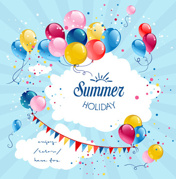 colored balloon summer birthday cards vector