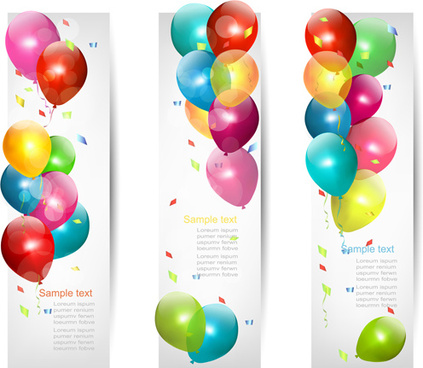 colored balloons banners set