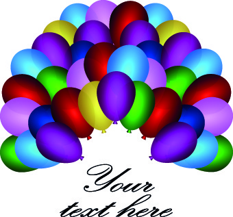 colored balloons holiday background illustration set