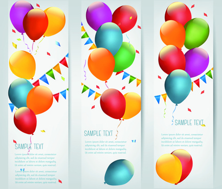 colored balloons holiday banner vector