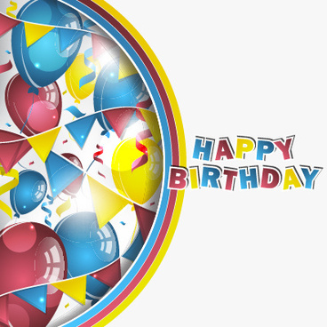 colored balloons with confetti happy birthday background