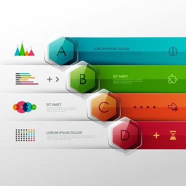 colored banner infographics elements vector