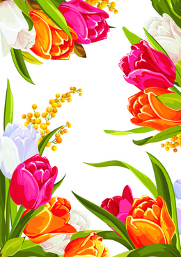 colored beautiful flowers design graphics