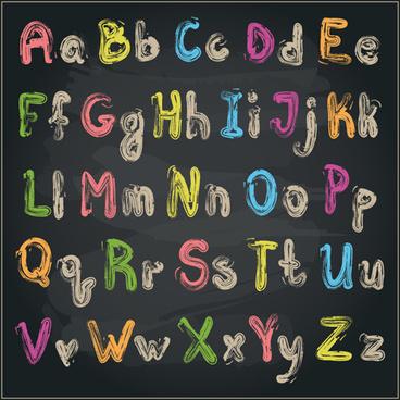 colored chalk alphabet vector
