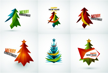colored christmas tree with logos vector graphics