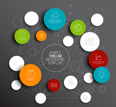 colored circles infographic template vector graphics
