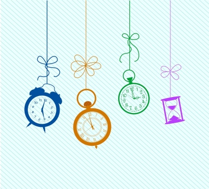 colored clock background hanging icons decor