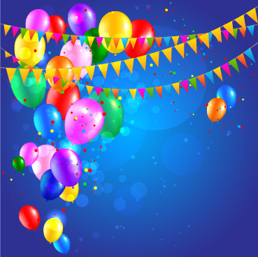 colored confetti with happy birthday background vector