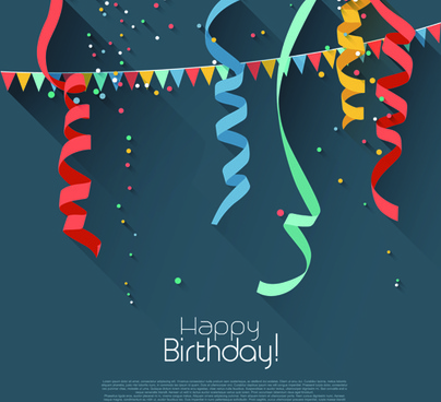 colored confetti with happy birthday gray background vector