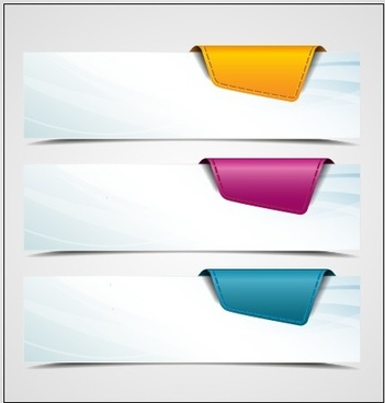 colored corners paper banner vector
