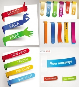 colored corners sticker labels vector