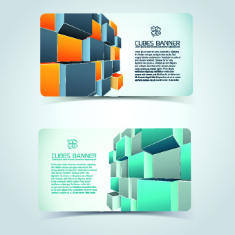 colored cubes banner card design vector
