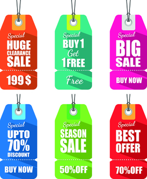 colored discount price tag vector graphics