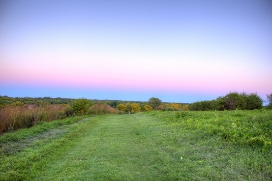 colored dusk skies above the hiking trail in madison wisconsin